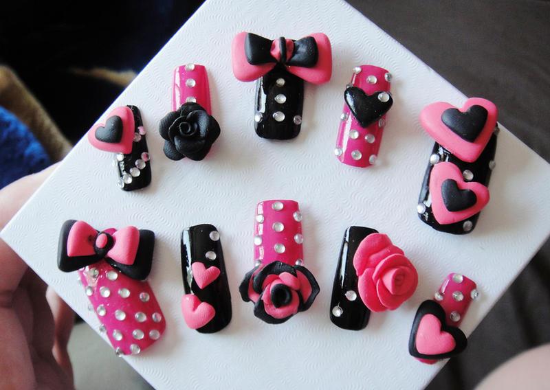 New 3d Nails Hot Pink And Black By Jadelushdesigns On Deviantart
