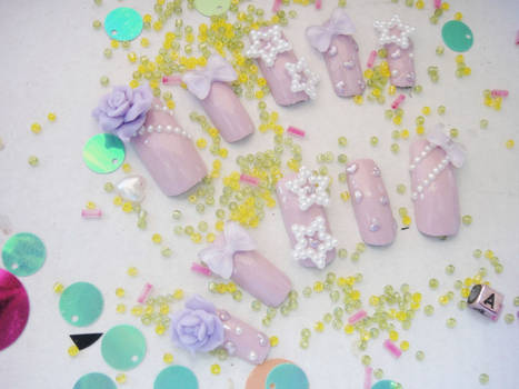Another set of my fave pastel purple 3d nail set