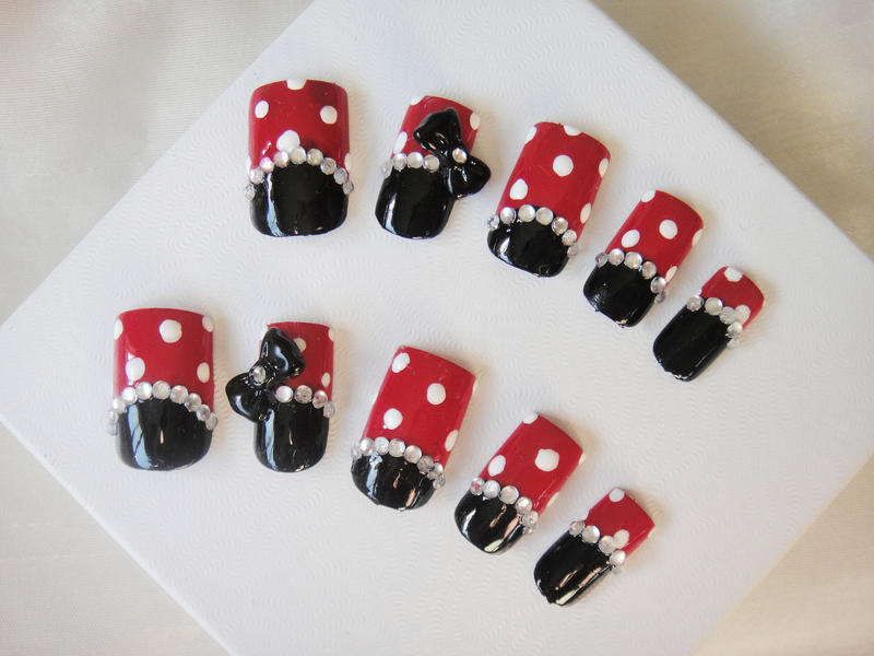 Minnie Mouse Simple Nail Set By Jadelushdesigns On Deviantart