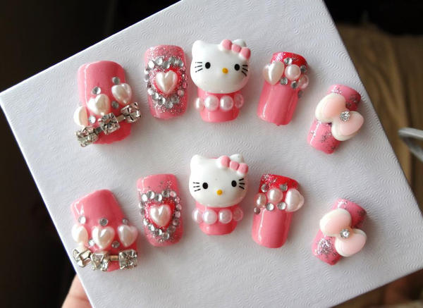 Bling hello kitty nail set by jadelushdesigns on deviantart bling hello kitty nail set by jadelushdesigns prinsesfo Image collections