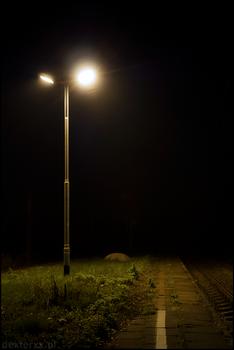 Night lantern on train station
