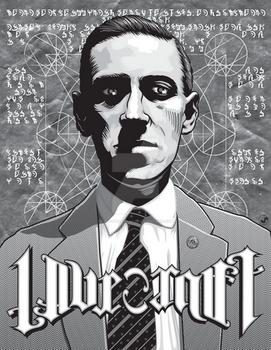 Hp Lovecraft Ambigram Vector Portrait