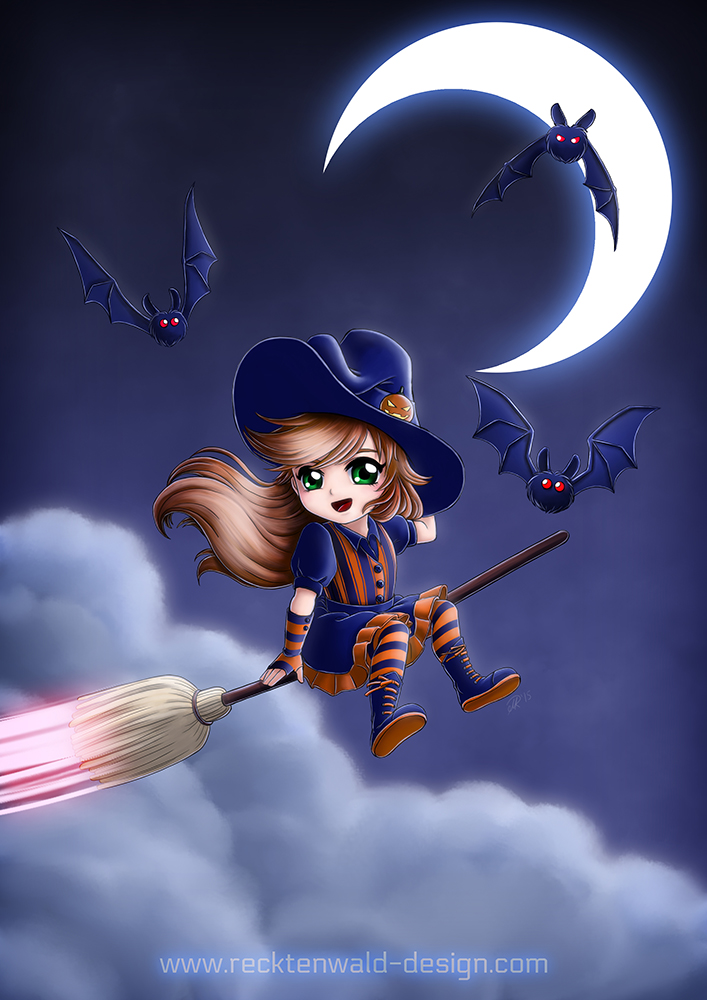 Witch and Bats by ryodita