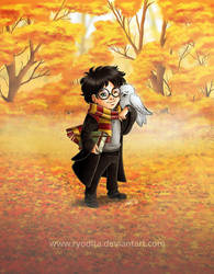 Chibi Harry and Hedwig