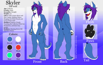 Skyler the wolf - Reference Sheet (Upgraded) by FoxRaver