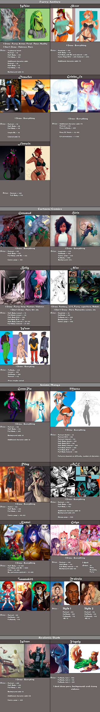 Pricelist of  My  Artist Guild(April  2021)