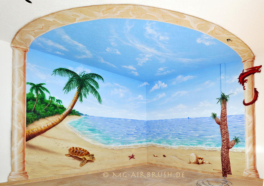 Dragon island mural painting by mg airbrush on deviantart for Airbrush mural painting