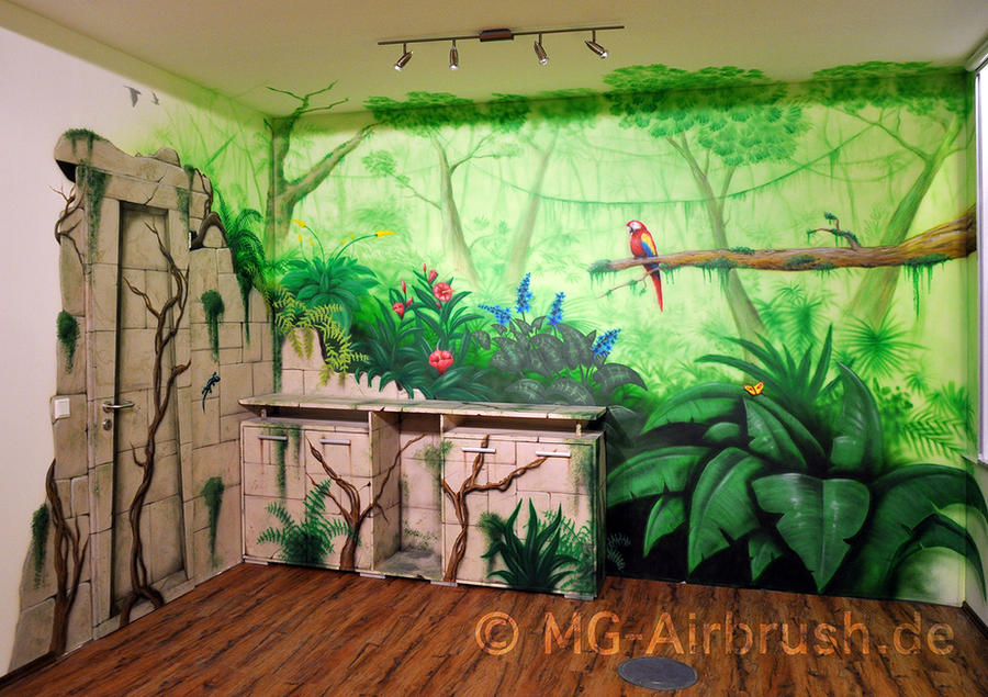 Jungle mural painting by mg airbrush on deviantart for Art mural painting