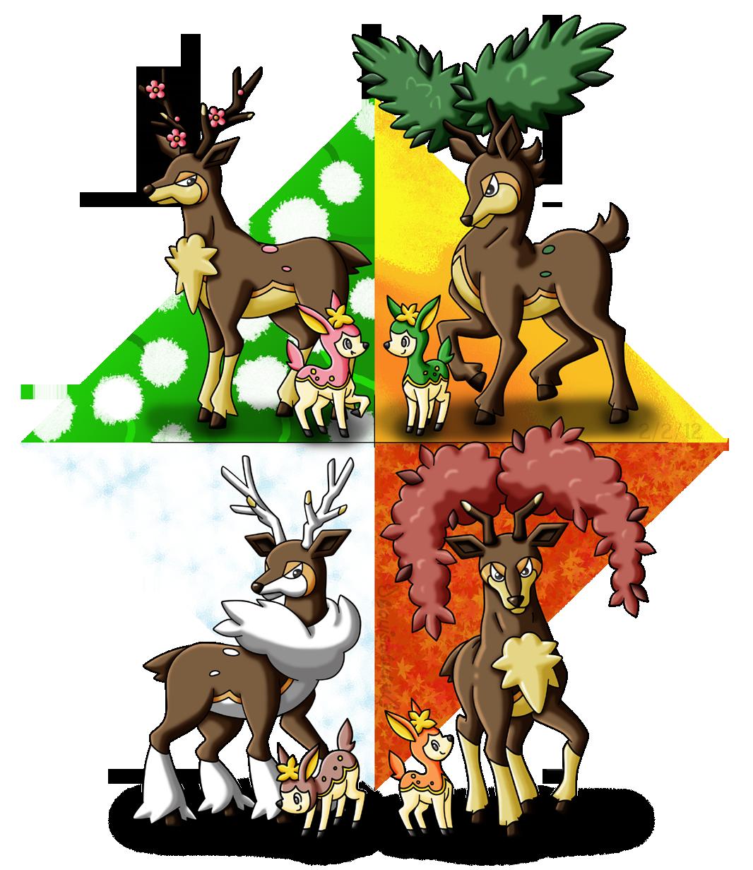 Deerling Seasons by louisalulu on DeviantArt