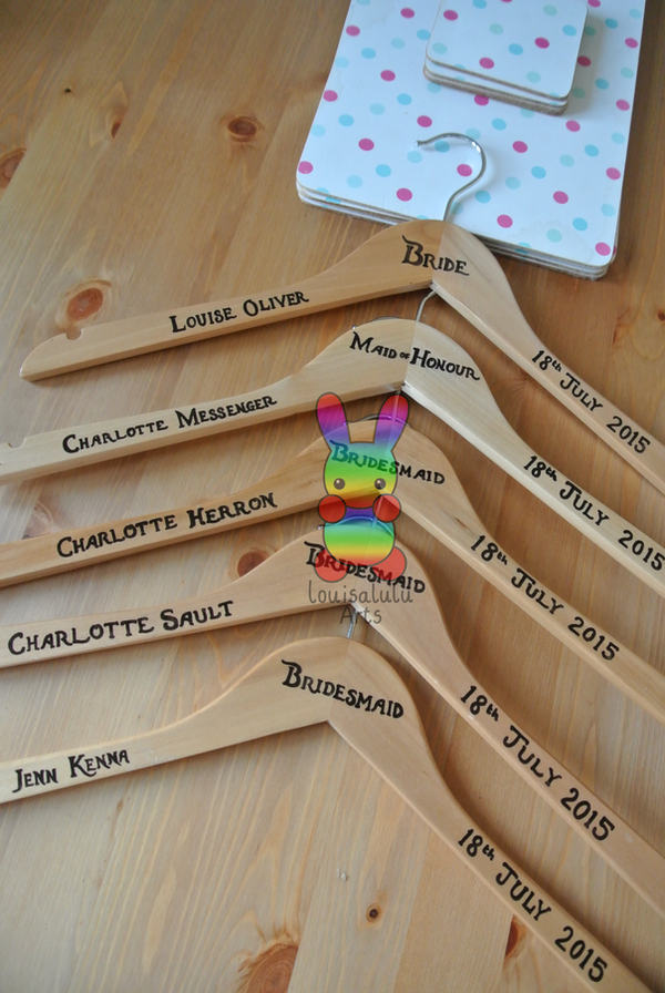 Personalised Bridal Dress Hangers by louisalulu