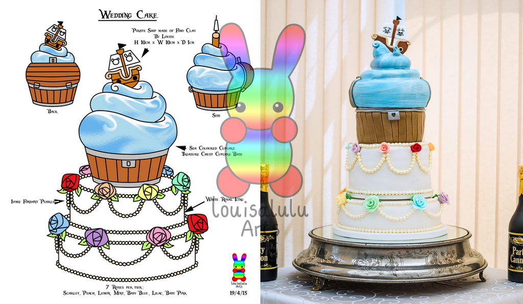 Pastel Rainbow Wedding Cake with added Pirate by louisalulu