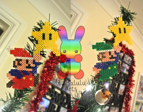 Mario and Luigi Christmas Tree Topper by louisalulu