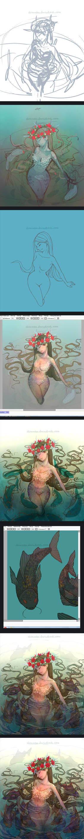Swamp girl. Drawing process