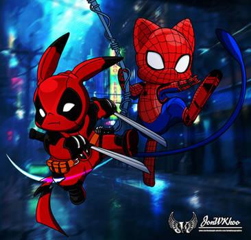 Pikapool and Home Coming SpiderMew by JonWKhoo