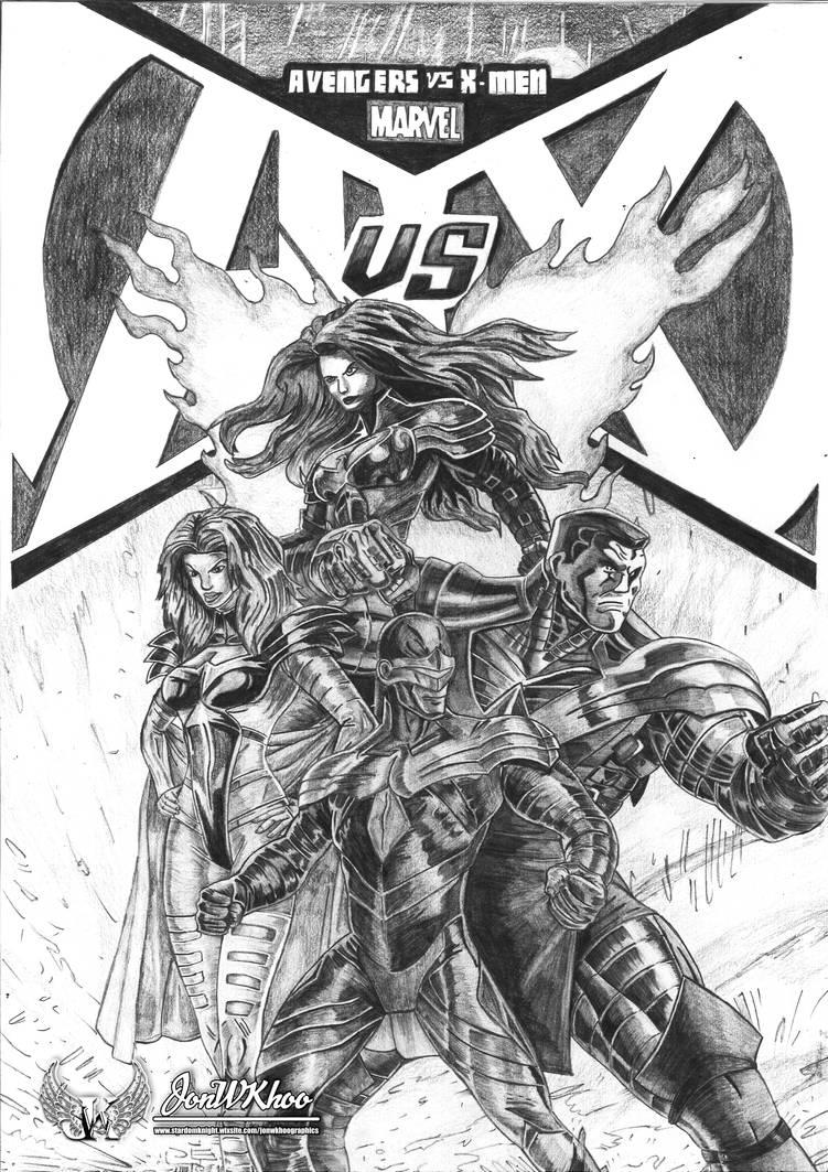 Marvel Xmen Vs Avengers! Pencil Drawing by JonWKhoo