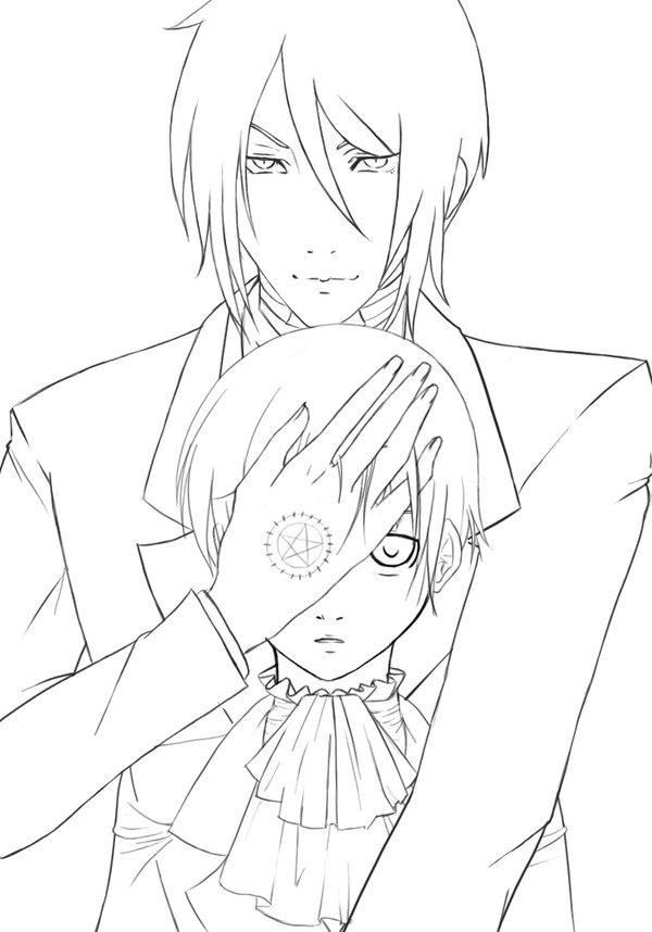 sebastian coloring pages - black butler free coloring pages