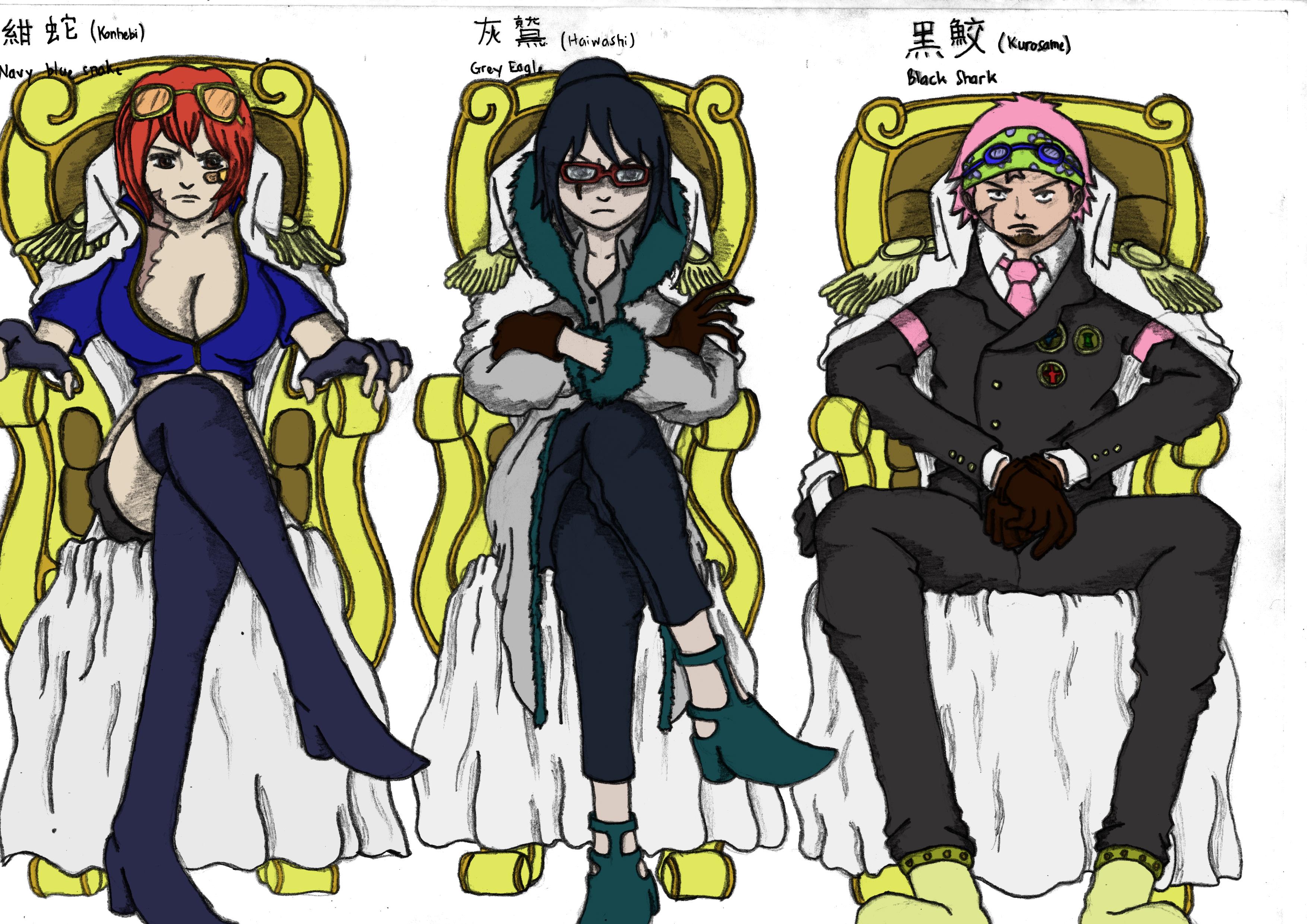 One Piece Fanart Future Marine Three Admirals by ...