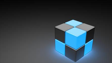 Neon Cube Blue 1920 x 1080