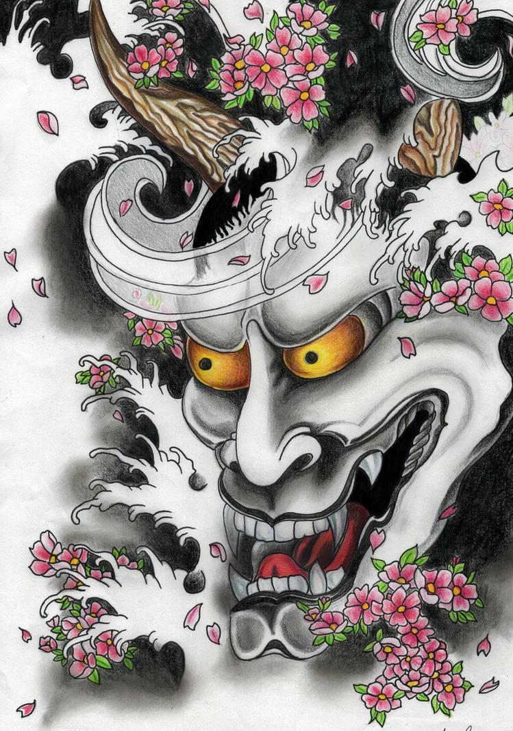 kabuki mask template - japanese mask tattoo by annedelirium on deviantart