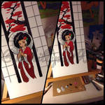 Afro geisha painting WIP