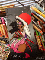 Afro geisha painting  by KPhillips702