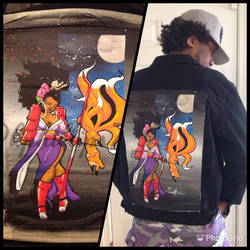 Afro archer custom denim jacket
