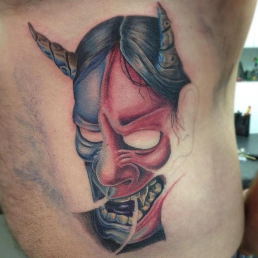 Progression on hannya mask by raggaart14 on deviantart for Hannya mask tattoo