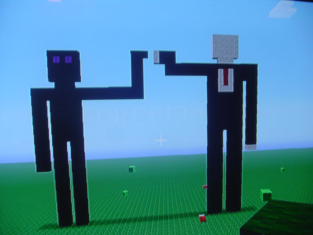 minecraft art slenderman and enderman by anarchygunrage
