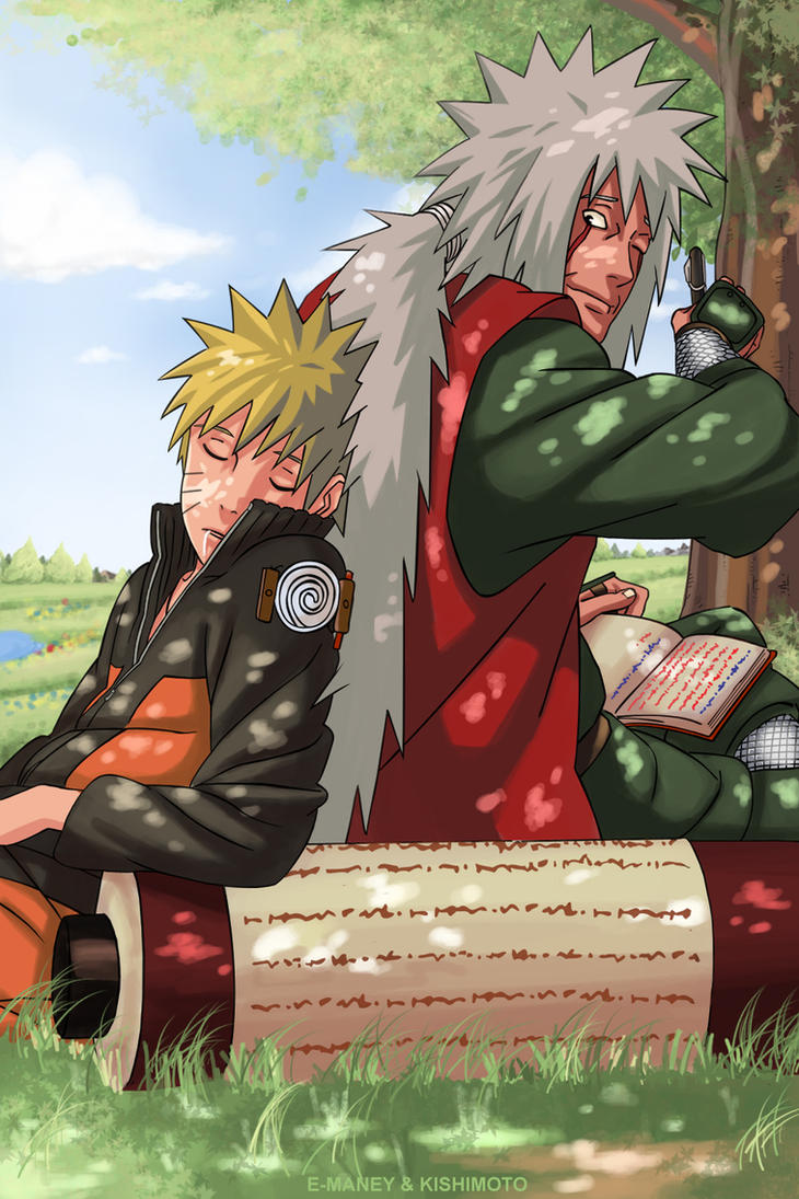 jiraiya and naruto by e-maney