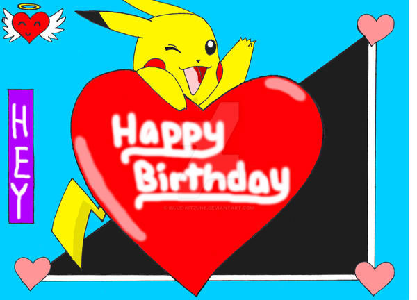 pikachu wishes you happy bday by ibluekitzune on deviantart, Birthday card
