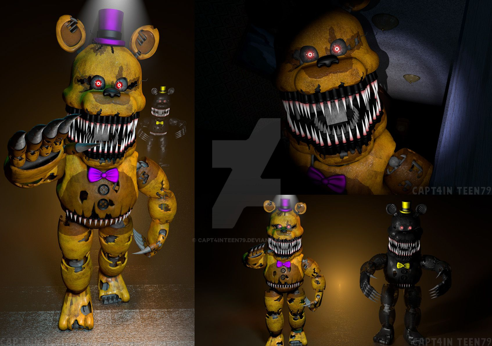 Nightmare fredbear and nightmare full body by capt4inteen79 on