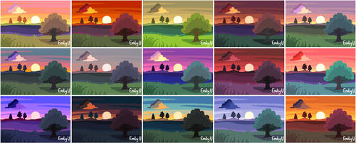 15 Sunsets (Drawing Practice)