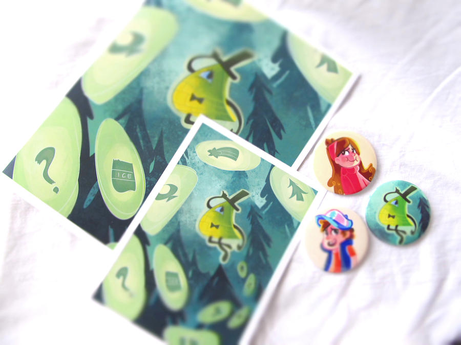 Gravity Falls - Buttons and Prints by HNAutumn