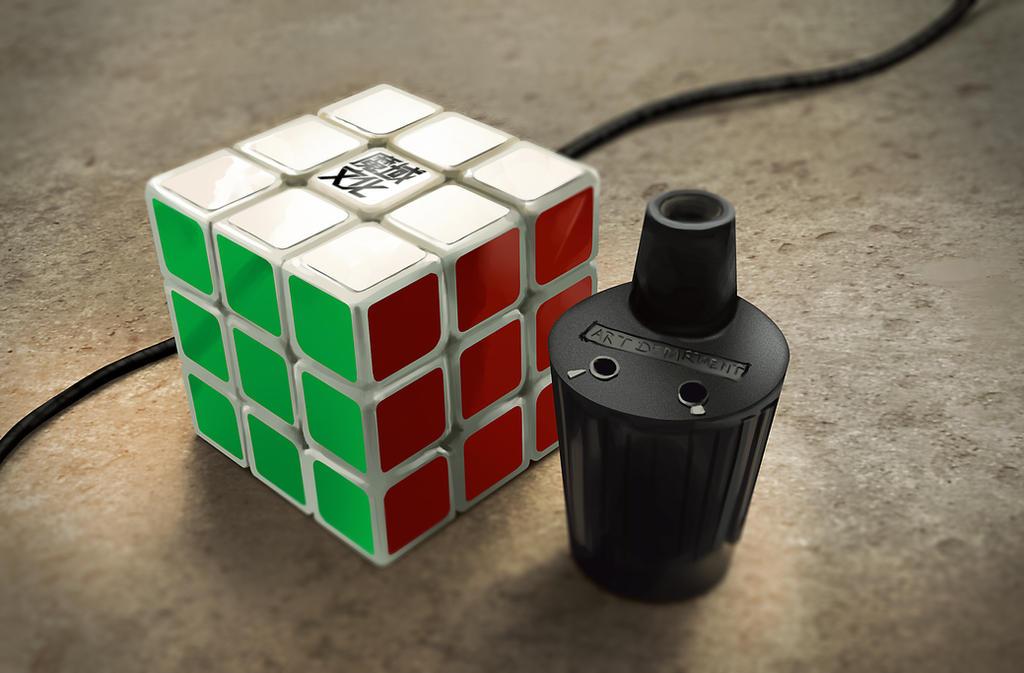 Quick Rubik's Cube Stilllife Painting by BlackSteelDrawing