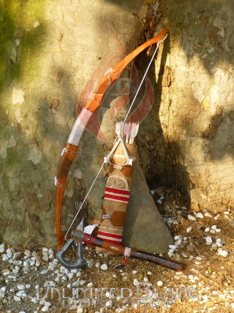 Connor's Bow,Arrows,Quiver and Tomahawk - AC III by BlastFlame