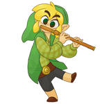 Toon Link playing the Flute