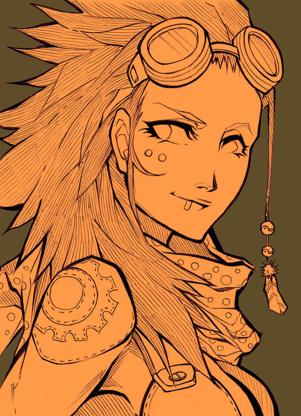 Sketch - Steampunk bust by MizaelTengu