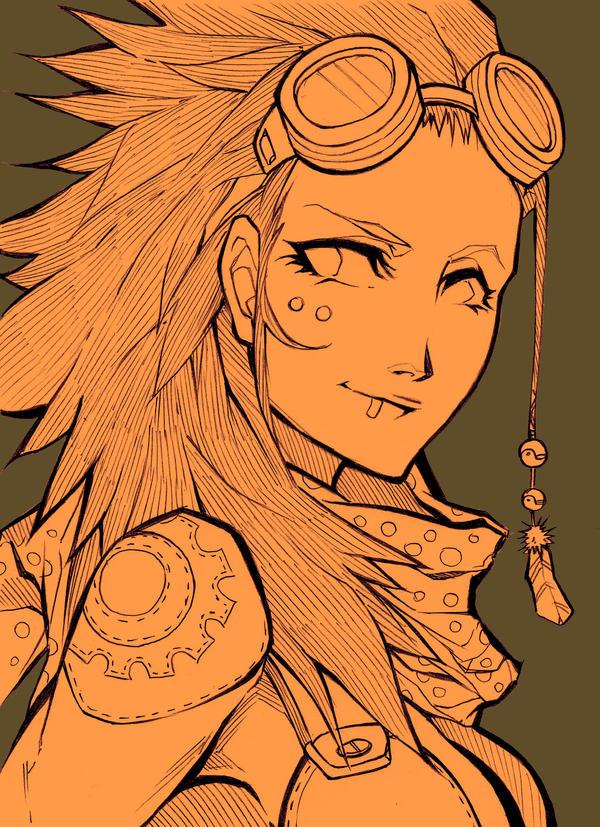 Sketch - Steampunk bust by MizaelTengu