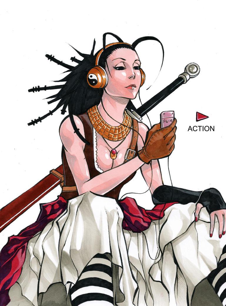 Cockroach swordgirl by MizaelTengu