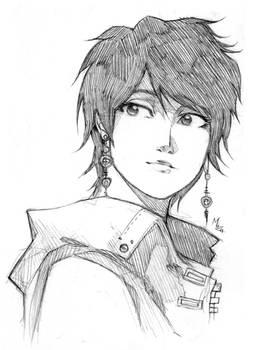 Bust sketch asian girl