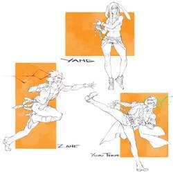 Commission - Character Drafts by MizaelTengu