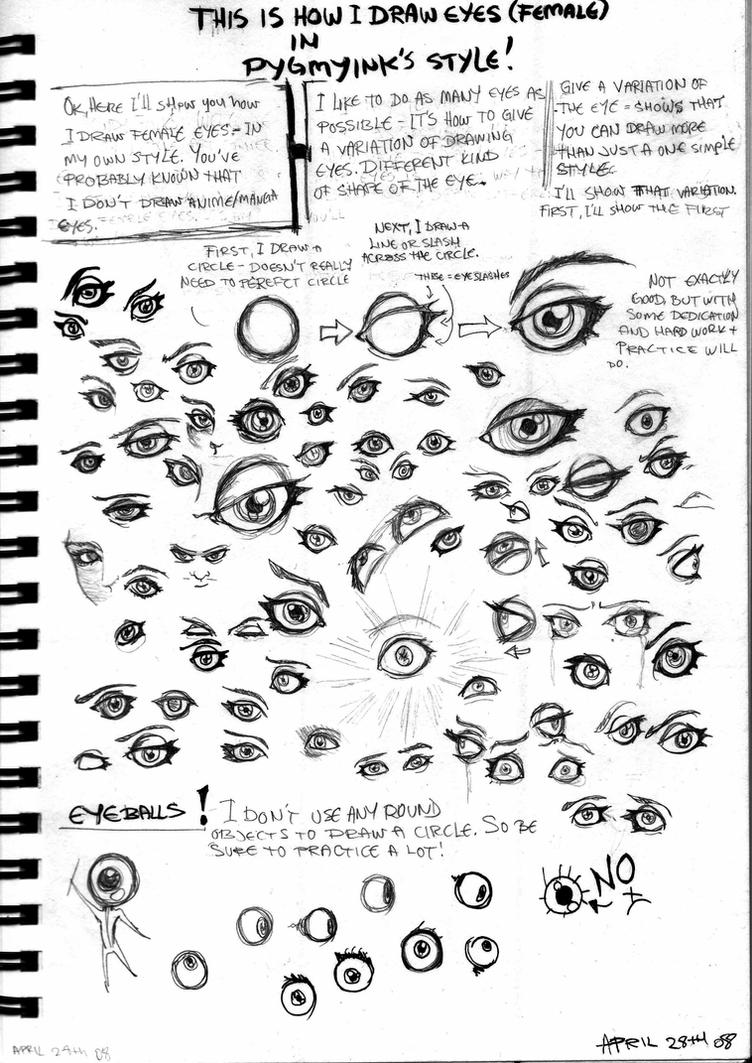 How I draw female eyes by Thevakien