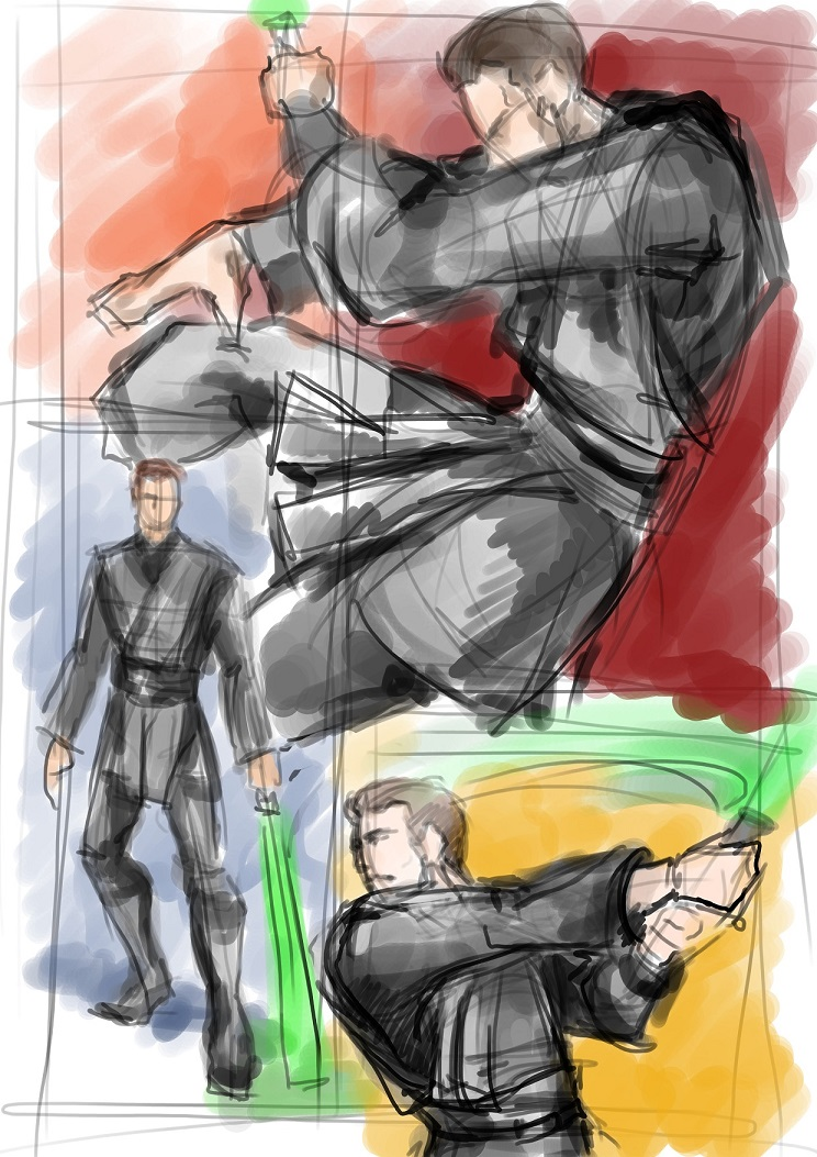Jedi Pose Sketches for a request 2 by anne-wild