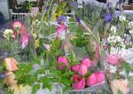 Market bouquets in the rain