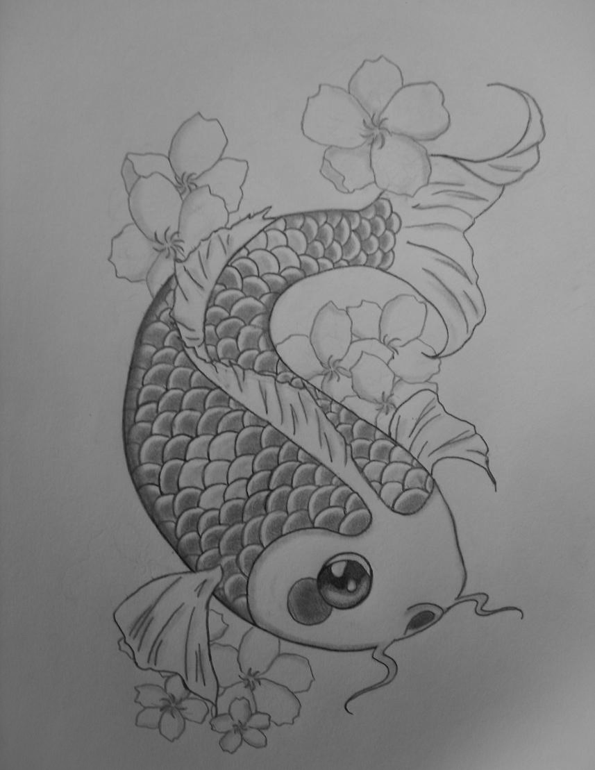 Koi fish pencil drawing by pollofriito on deviantart for Koi fish sketch