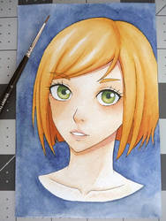 Watercolor portrait #4: Ginger (redo) by NuclearKimchi