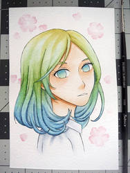 Watercolor portrait #5: Ombre Hair by NuclearKimchi