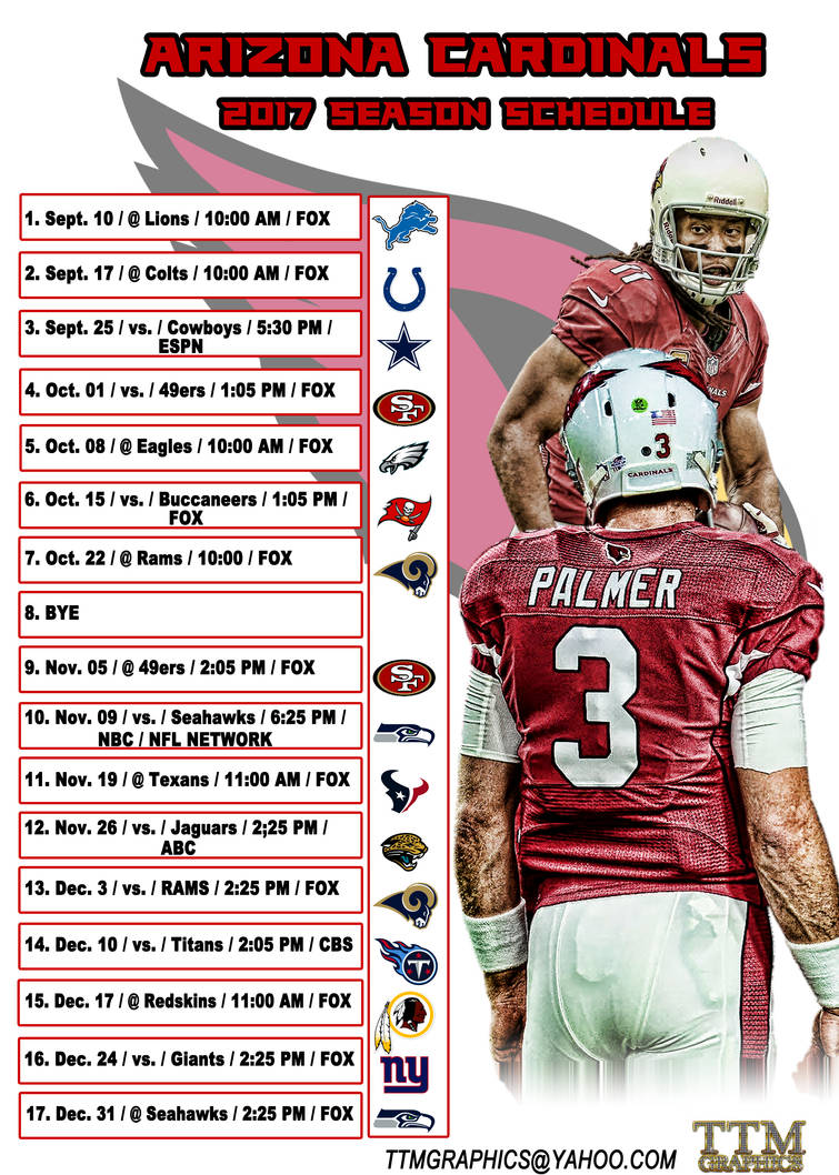 8664ab38 Arizona Cardinals 2017 season schedule 2 by tmarried on DeviantArt