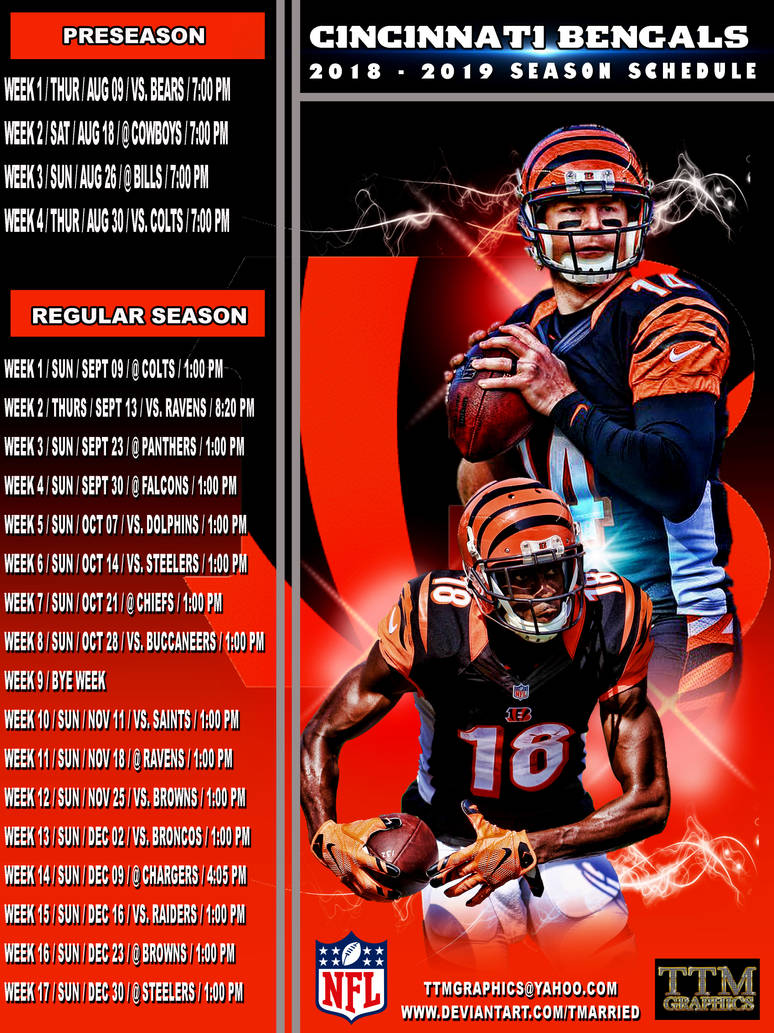 Cincinnati Bengals Schedule 2019 2018 2019 Season Schedule (cincinnati Bengals) by tmarried on
