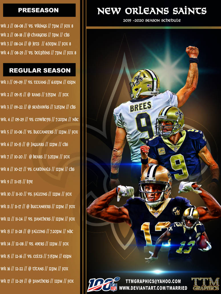 New Orleans Saints Schedule 2020 2019   2020 Season Schedule (new Orleans Saints) by tmarried on